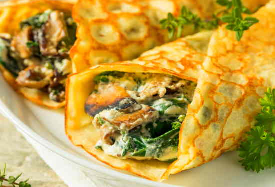 Bacon, Spinach, Cheese & Mushroom Crepes
